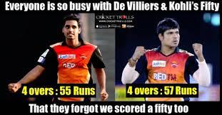 Rcb Memes - poor bowling performance by bhuvneshwar kumar and karn sharma rcb
