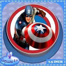 captain america cake topper precut happy birthday 7 5 inch captain america edible cake