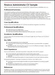 Resume Core Qualifications Examples by Finance Administrator Cv Sample Myperfectcv