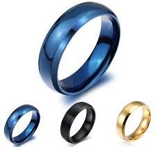 blue titanium wedding band simple design classic wedding rings blue black gold filled