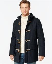 tommy hilfiger wool blend melton toggle coat in blue for men lyst