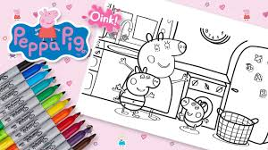 peppa pig u0026 family in the kitchen coloring pages fun speed