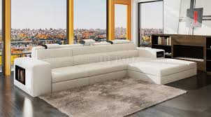 polaris mini sectional sofa in white bonded leather by vig