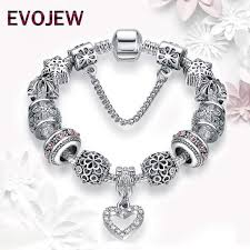 woman charm bracelet images Antique silver 925 starfish snowflake crystal heart charm beads jpeg