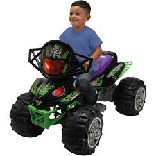 grave digger toy monster truck monster jam grave digger quad 12 volt battery powered ride on
