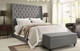 bed headboard tall headboard bed grey linen