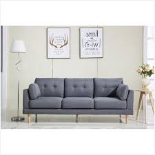 madison home tufted sofa mid century modern tufted linen fabric sofa the best option
