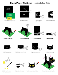 black paper cat art projects for kids