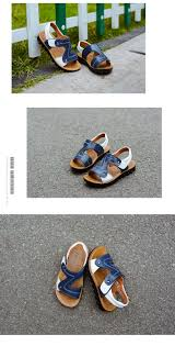 2017 summer beach boy sandals kids genuine leather shoes