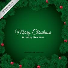 christmas card with green leaves free vector 123freevectors