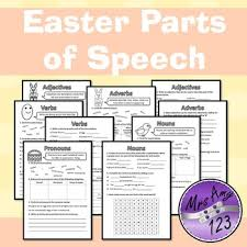easter parts of speech grammar worksheets nouns verbs