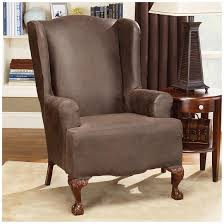 Living Room Chair Cover Sure Fit Stretch Leather Wing Chair Slipcover 581253 Furniture