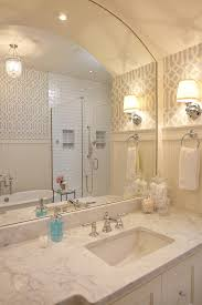 Bathroom Above Mirror Lighting Marvelous Arched Mirror In Bathroom Beach Style With Light Above