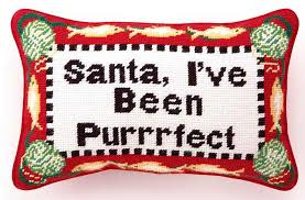 cat needlepoint pillow cat santa greeting for the of