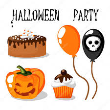 cute halloween party vector set with food balloons pumpkin and
