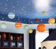 Space Room Decor Jumbo Paper Lantern Planets Hanging From Blue Ceiling With Stars