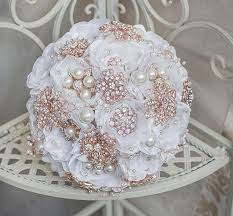 Quinceanera Bouquets Rose Gold And White Wedding Brooch Bouquet Broach Bouquet Jeweled