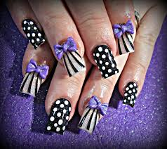 polka dot stripes and 3d bow acrylic nails nails pinterest