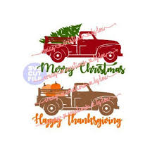 merry happy thanksgiving vintage truck with tree and