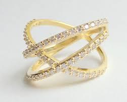 diamond x ring gold x ring criss cross ring 14k yellow gold x ring 14k