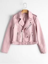 light pink blazer womens zip up belted faux leather biker jacket light pink jackets coats