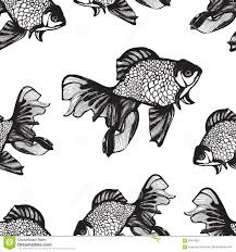 abstract fish sketch seamless pattern hand drawing vector