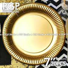 pgp gold paper favor plates 20pcs 18cm 7inch dishes for