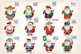 santa claus in different countries illustrations creative market
