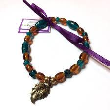 leaf charm bracelet images Leaf charm bracelet amber and teal recycled glass beads jpg