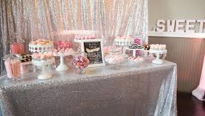 Blush Pink Table Runner Linen Sequin Tablecloths