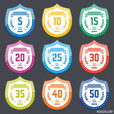 40th anniversary color vector set of anniversary color signs symbols 5 10 15 20 25