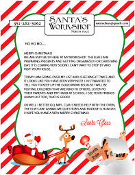 santa claus letters free printable letter to and from santa sohosonnet creative living