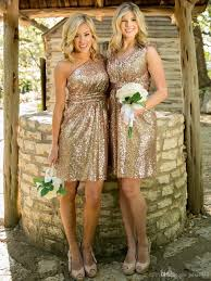 2016 rose gold bridesmaids dresses sequins plus size custom made