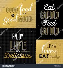 set vintage food quotes gold color stock vector 484207777