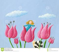 thumbelina tulip royalty free stock images