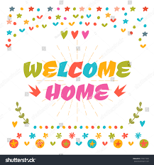 welcome home text colorful design elements stock vector 418611520