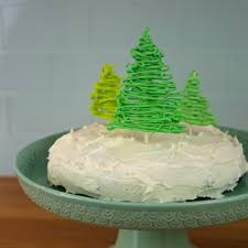 two ingredient cake and white chocolate christmas trees cake