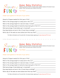 What Are The Best Sheets Baby Statistics Baby Shower Game