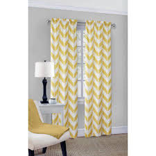 White And Yellow Curtains Mainstays Chevron Polyester Cotton Curtain Panel Pair Walmart
