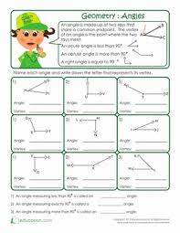 basic geometry anatomy of an angle worksheet education com