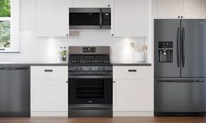 white kitchen cabinets and black stainless steel appliances innovative products frigidaire gallery black stainless