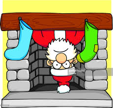 santa stuck in fireplace vector art getty images