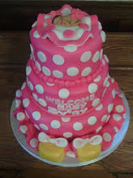 minnie mouse baby shower cake baby sleeping wearing pink