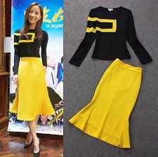 womens yellow tops blouses ship designer fashion european set stylish black yellow