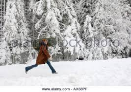 female carrying christmas tree on her shoulders down the road to