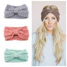 crochet headband fashion women crochet headband knit bowknot hairband ear warmer