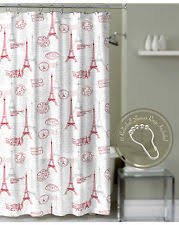Shower Curtains With Red Eiffel Tower Shower Curtain Ebay
