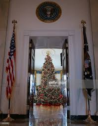 first lady laura bush shows white house christmas decorations