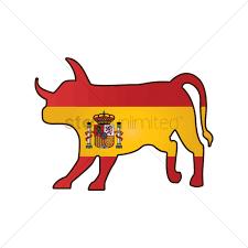 Bull Flag Bull With Spain Flag Vector Image 1565305 Stockunlimited