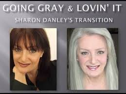 how to grow in gray hair with highlights going gray lovin it sharon danley s transition youtube